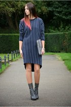navy H&M dress - heather gray Topshop boots - silver Kurt Geiger bag