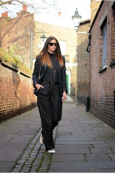 gray Primark blazer - gray Zara jumper - gray Zara pants - gold asos sneakers