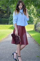 brick red River Island skirt - crimson Primark bag - light blue Zara jumper