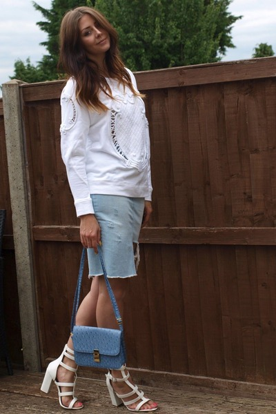 white Zara jumper - sky blue Ebay bag - sky blue Zara skirt