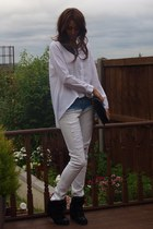white Ebay shirt - white Zara jeans - black Chanel bag - gold H&amp;M necklace