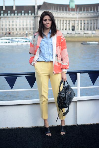 black balenciaga bag - coral M&S jacket - light blue Zara shirt