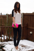 white Zara top - hot pink Zara bag - black Topshop pants