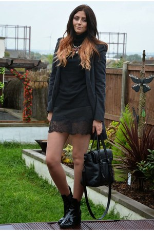 black Zara boots - gray next coat - black Zara bag - black Zara skirt