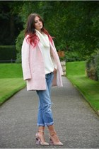 bubble gum Topshop coat - sky blue Primark jeans - light pink asos heels