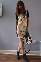 tropical print Primark dress - ankle new look boots - celine style Ebay bag