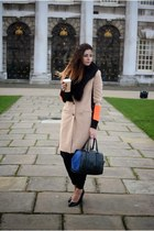 bronze River Island coat - black next bag - black Kurt Geiger heels