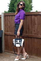 white Ebay bag - deep purple Marks & Spencer shirt - black Zara skirt