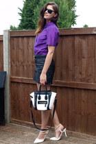white Ebay bag - deep purple Marks & Spencer shirt - black Zara skirt