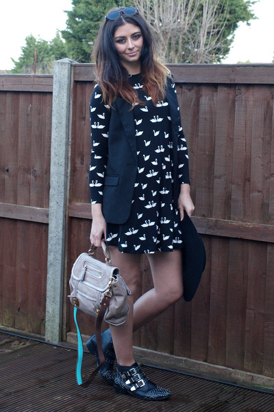 black Chockers boots - black asos dress - black Primark hat