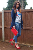 navy Primark coat - blue Forever 21 jeans - red Ebay bag - red new look heels