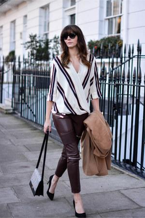 ivory draped striped Topshop blouse