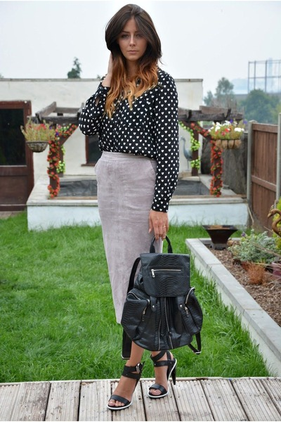 black heart print new look shirt - black snakeskin Topshop bag