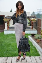 black heart print new look shirt - black snakeskin Topshop bag