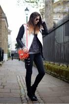 white Forever 21 jacket - black Bershka boots - black Zara jeans