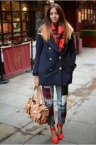 navy H&M coat - navy Primark jeans - red H&M scarf - nude Mulberry bag