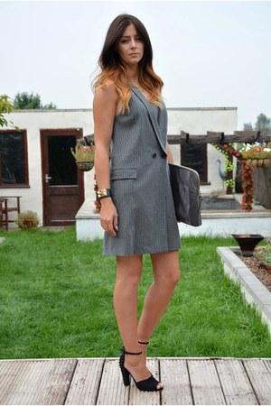 black Zara shoes - silver pinstripe Zara dress - heather gray KG Kurt Geiger bag