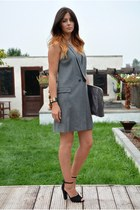 black Zara shoes - silver pinstripe Zara dress - heather gray KG Kurt Geiger bag