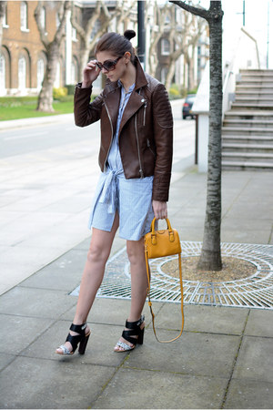 sky blue Zara dress - dark brown Zara jacket - light orange Topshop bag