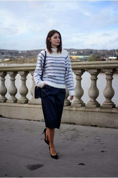 white H&M jumper - navy Topshop pants