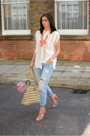 light orange Max & Chloe necklace - sky blue Zara jeans