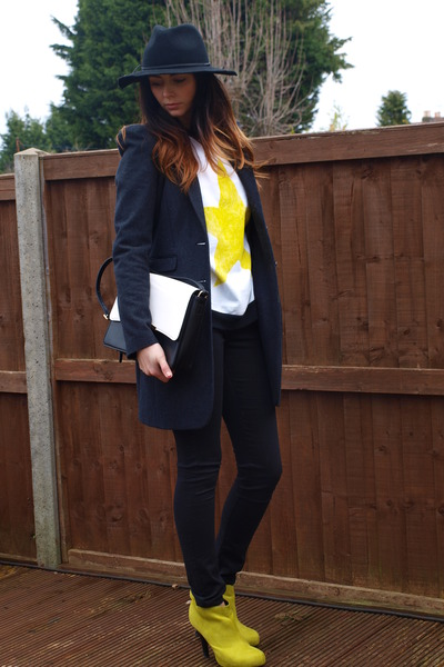 black Primark jeans - yellow Dorothy Perkins boots - dark gray next coat
