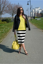 yellow Forever 21 sweater - black Forever 21 jacket - yellow Miss Selfridge bag