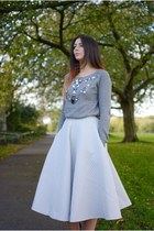 silver warehouse jumper - off white H&M skirt