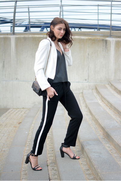 black Kurt Geiger bag - white Primark blazer - black Zara pants