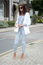 white Forever 21 blazer - silver SOS Jeans jeans - white PERSUNMALL bag