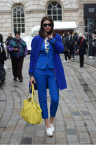 blue Zara blazer - blue M&S coat - yellow Miss Selfridge bag