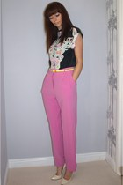 bubble gum high waisted H&M pants - black floral print H&M shirt