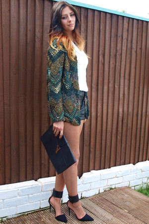 dark green Zara jacket - white Zara shirt - black Ebay bag - black H&M shorts