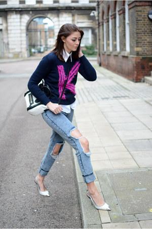 sky blue Boohoo jeans - navy Sheinside jumper