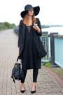 Black-h-m-dress-black-topshop-hat-black-h-m-blazer-black-river-island-bag