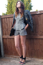 black Chanel bag - dark gray next blazer - charcoal gray Primark shorts