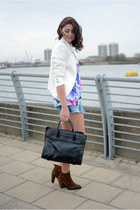 dark brown Zara boots - white Zara blazer - black OASAP bag