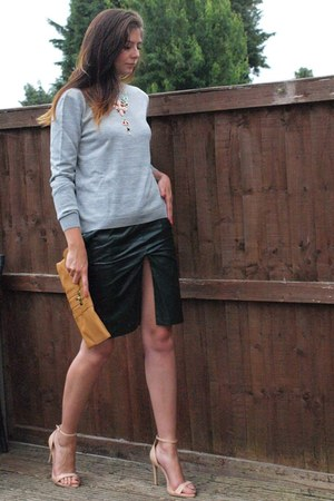 silver asos sweater - bronze Primark bag - dark green Nowhere skirt