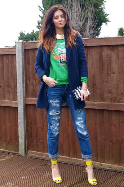 H&M heels - Primark coat - Zara jeans - Zara bag - H&M necklace - Kenzo jumper