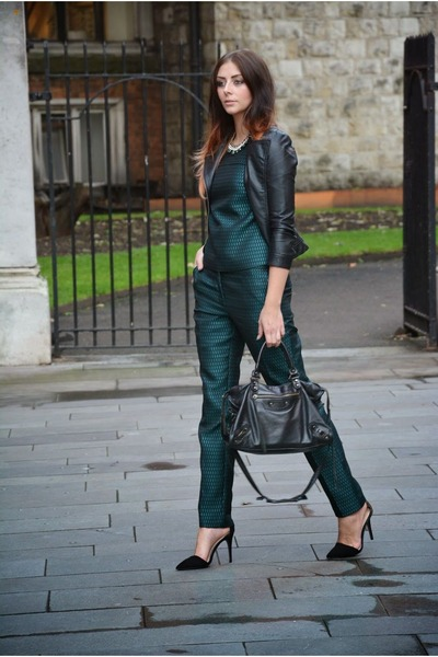 dark green next top - black Zara shoes - black Zara jacket