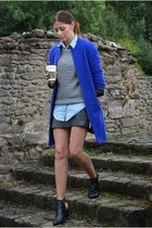 blue Marks & Spencer coat - black Zara boots - silver Primark sweater