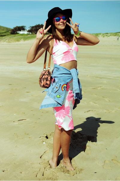 sky blue Missguided jacket - black River Island hat - coral F&F bag