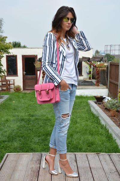 24bfa6a6628f white striped Zara blazer - sky blue Zara jeans - hot pink Marlborough  World bag