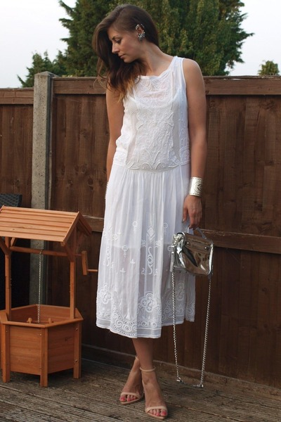 white Zara dress - silver Kurt Geiger bag - peach Zara heels