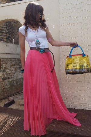 turquoise blue H&M necklace - yellow Ebay bag - salmon Mango skirt