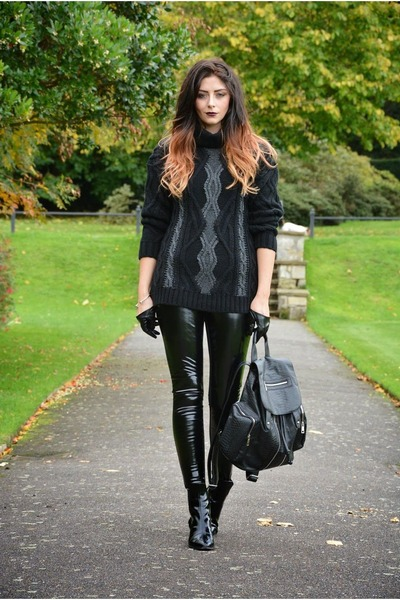 black Zara boots - black Topshop bag - black River Island pants