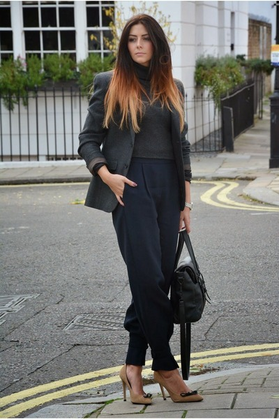 gray Primark blazer - black Zara bag - navy Zara pants - gray Zara jumper
