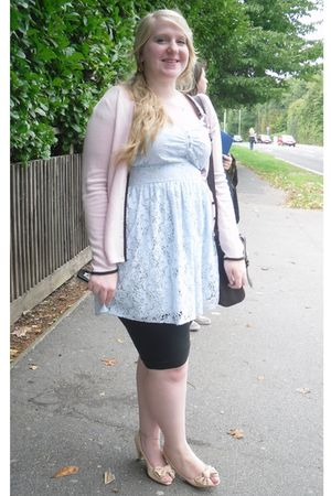 pink Marks & Spencer cardigan - blue Primark dress - black Matalan leggings - pi