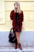 crimson Ideal boots - crimson vintage sweater - maroon Alexander McQueen bag - b