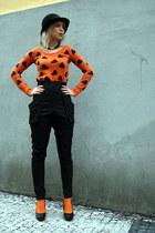 carrot orange vintage sweater - carrot orange Bepon socks - black Zara pants